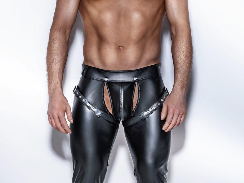 heren wetlook harness broek, heren sexy broeken, heren wetlook kledingheren wetlook harness broek