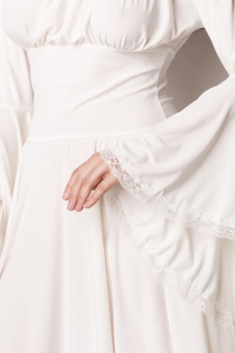 615532ca0194bb ... Witte lange mouwen jurk met trompetmouwen