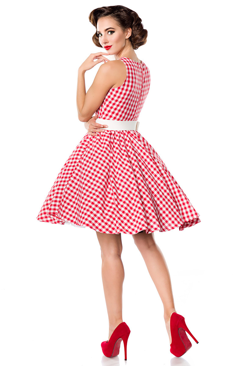850d5773b211f8 Retro 50s gingham swing dress red