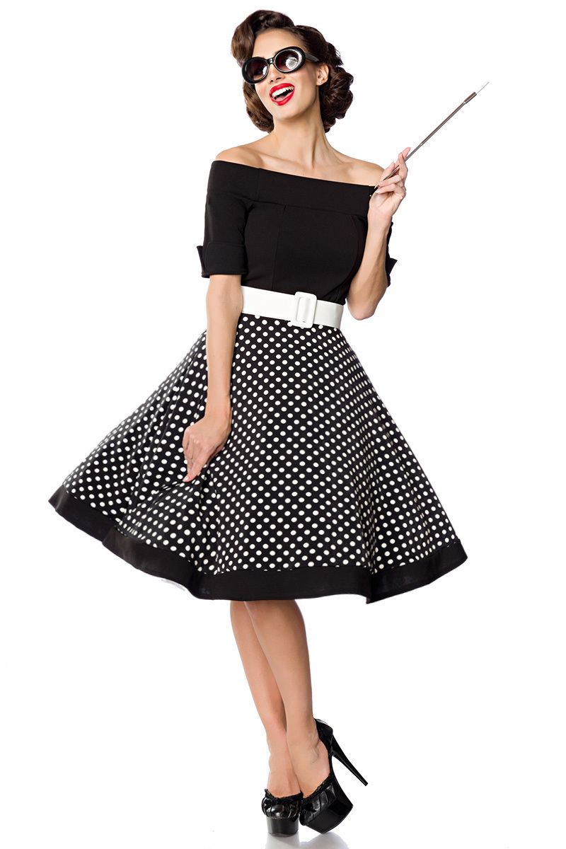 2dcccd82910 Vintage polka dot dress with wide skirt, Retro boothals dress in 50s