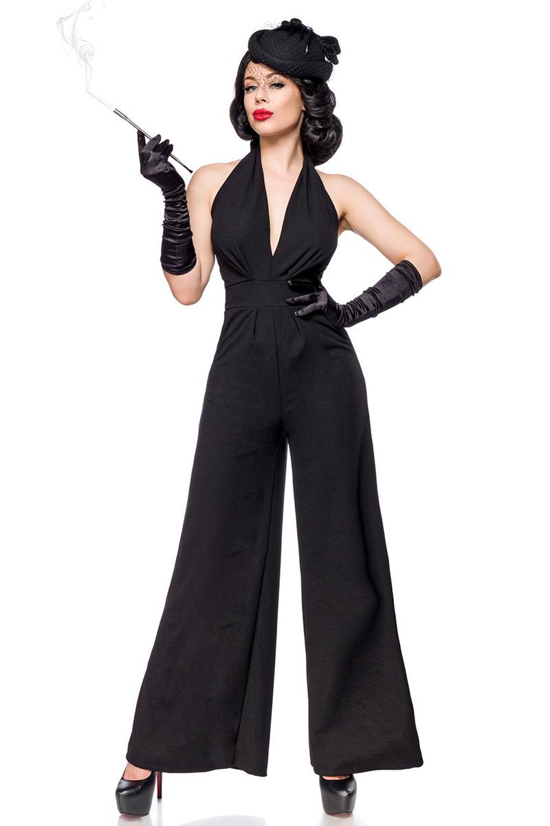 Vintage overall with deep décolleté black b725372d813