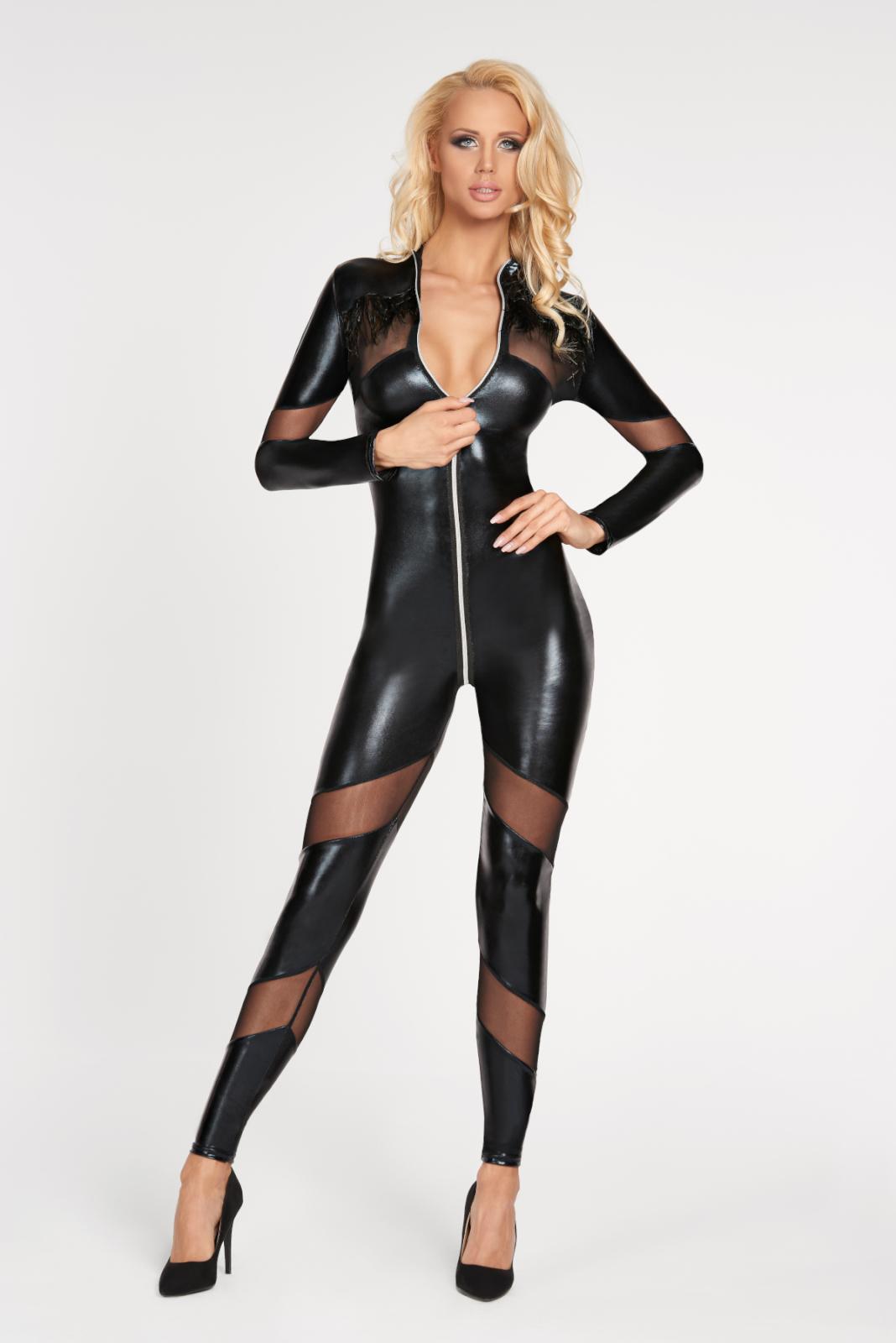 69d3004e719 Wetlook lange mouwen jumpsuit met mesh inzetstukken, kinky catsuits