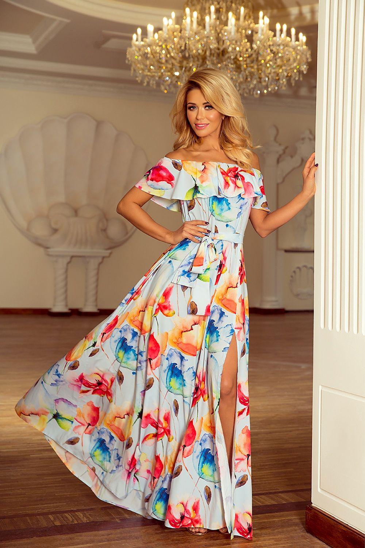 Maxi Dresses Summer Dresses Long Dress Dress With Open Shoulders Sexy Dress Split Dress Print Dress Pleated Overlay
