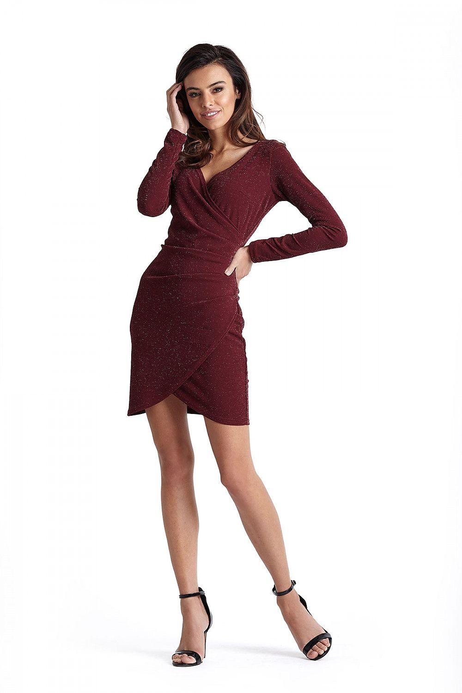 036d5667b07750 Geplooide glitter jurk in bordeaux