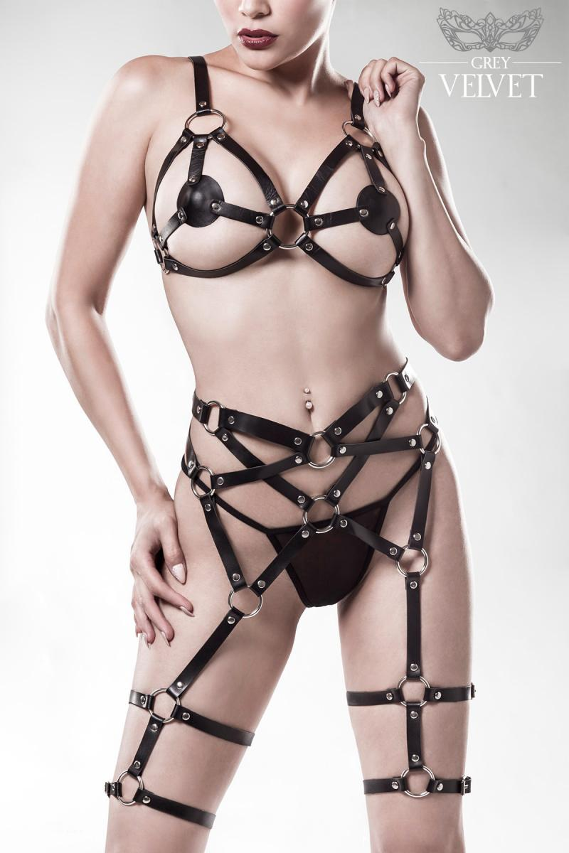e439757ef Kinky leather look harness bra and cage suspender belt
