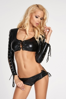 2-delige wetlook crop top en hotpants gogo set zwart