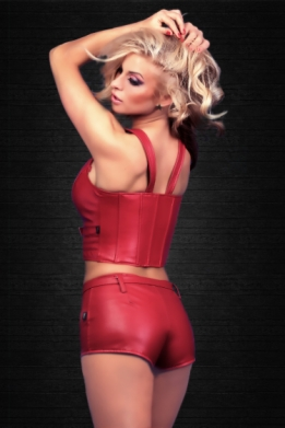 Sexy lederlook hotpants rood