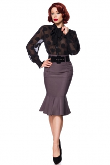 50s Pin up volant pencil rok met riem