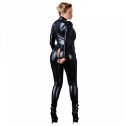 Grote maten wetlook jumpsuit