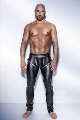 Heren wetlook harness broek