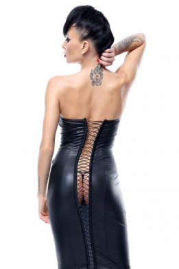 Kinky eco-leer strapless jurk met vetersluiting