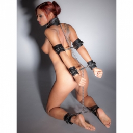 Lederen totale bondage set