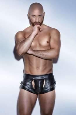 Mannen wetlook jock-strap short