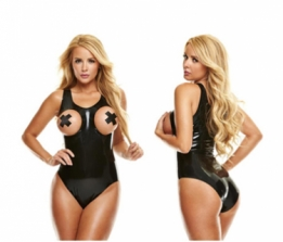 Peek-A-Boo latex bodysuit met X tepel pasties