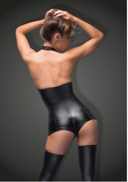 Powerwetlook bodysuit met haltersluiting