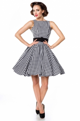 Retro 50s gingham swing jurk zwart