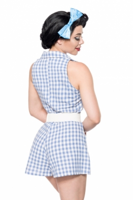 Retro jumpsuit blauw-wit