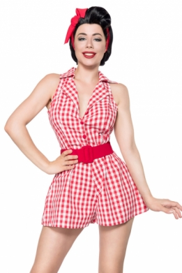 Retro jumpsuit rood-wit