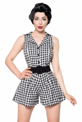 Retro jumpsuit zwart-wit