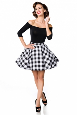 Retro skater swing rok zwart-wit