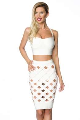 Sexy bandage top en rok set wit
