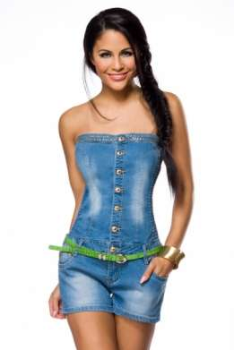 Strapless denim korte jumpsuit