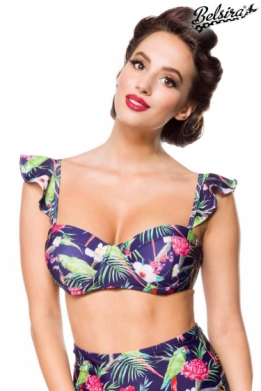 Vintage retro bikini top met tropical pattern