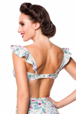 Vintage retro bikini top with rose bloemen pattern