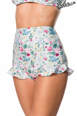 Vintage retro swimsuit with ruffled rose floral