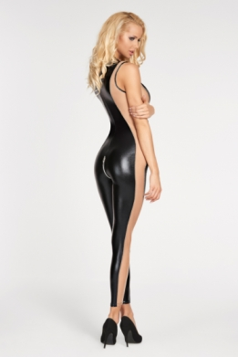 Wetlook jumpsuit met nude mesh panelen