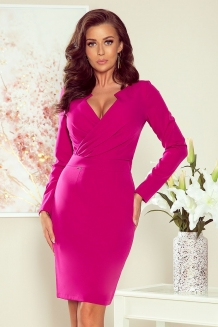 Bodycon geplooide V-hals cocktailjurk fuschia