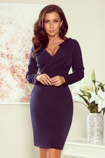 Bodycon geplooide V-hals cocktailjurk navy