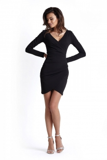 Bodycon mini overslagjurk zwart