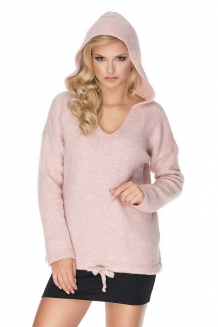 Fluffy over-sized trui met capuchon pink