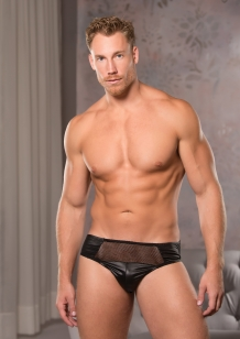 Heren sexy wetlook en visnet briefs