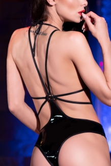 Kinky halter bodysuit with strappy back
