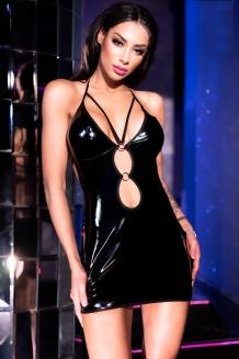b9a94d05dcaff2 Kinky vinyl mini-jurk met ringdetails