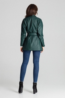 Lederlook loose-fit jas in groen