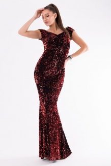 14557b7eaab Maxi gala dress covered with sequins red