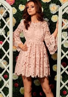 1dfe0a5f3dca4f Mini gehaakte kant jurk met uitlopende mouwen roze