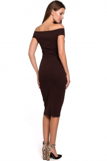 Off shoulder bodycon cocktailjurk bruin