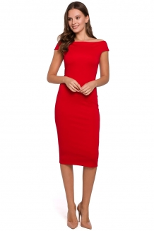 Off shoulder bodycon cocktailjurk rood
