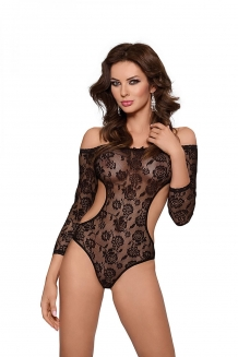 Off-shoulder kanten monokini bodysuit