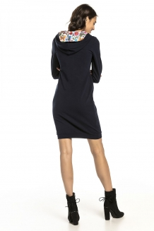 Oversized sweat jurk met capuchon navy