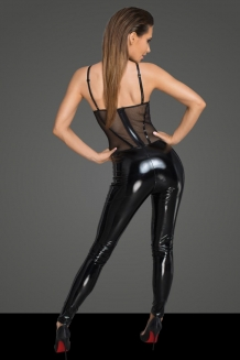 Rebellious lak catsuit met gaas top