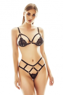 Sexy lace and elastic band bra set