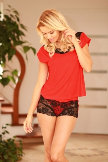 Sexy pyjama set top en hotpants rood