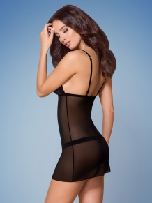 Sexy transparant chemise met open cup