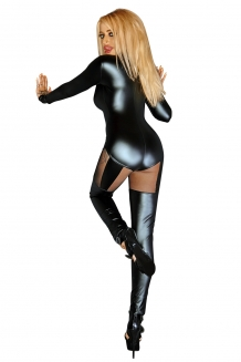 Sexy wetlook en mesh catsuit