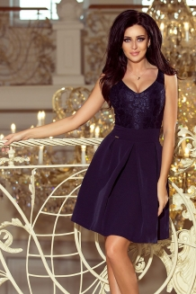 78fd1ed20f4079 Skater dress with lace upper part navy